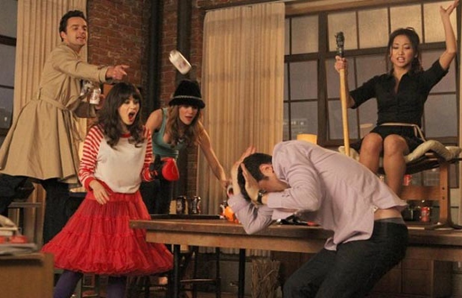"""NEW GIRL:  L-R:  Nick (Jake Johnson), Jess (Zooey Deschanel), Holly (guest star Brooklyn Decker), Schmidt (Max Greenfield) and Daisy (guest star Brenda Song) play a heated game of """"True American"""" in the """"Cooler"""" episode of NEW GIRL airing Tuesday, Jan. 29 (9:00-9:30 PM ET/PT) on FOX.  ©2012 Fox Broadcasting Co.  Cr: Patrick McElhenney/FOX"""