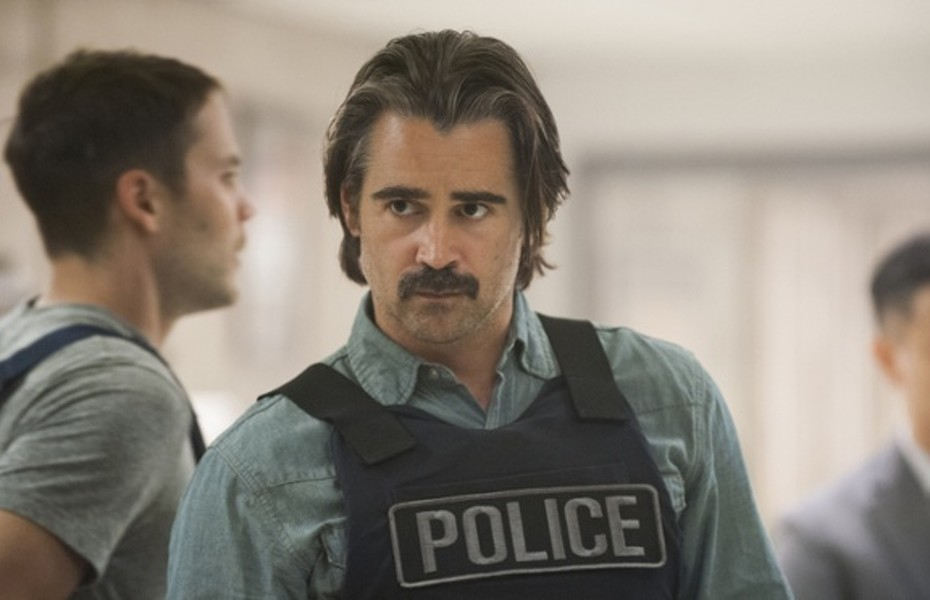 "In this image released by HBO, Colin Farrell portrays Detective Ray Velcoro in the second season of the HBO original series ""True Detective,"" airing Sunday at 9 p.m. EDT. (Lacey Terrell/HBO via AP)"